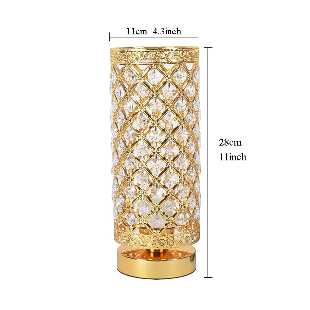 Ccsun crystal e26 bedroom table lamp modern bedside lamp cylindrical desk light indoor decoration lighting fixtures golden dimmer switch amazon com