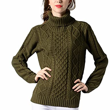 Veryco Women Turtle Polo Neck Chunky Cable Knit Long Sleeve Pullover
