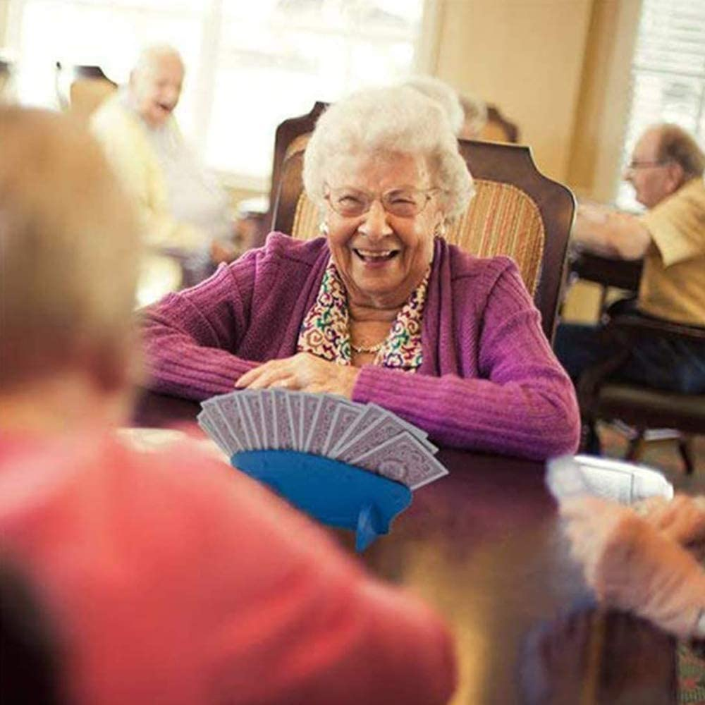 Utilizada para Portatarjetas de Juego de Cartas Soporte Para Juego de Cartas Herramienta de P/óker Para Ancianos Artefact de Naipe,Asistente de Entretenimiento 2 Piezas Portatarjetas de P/óker