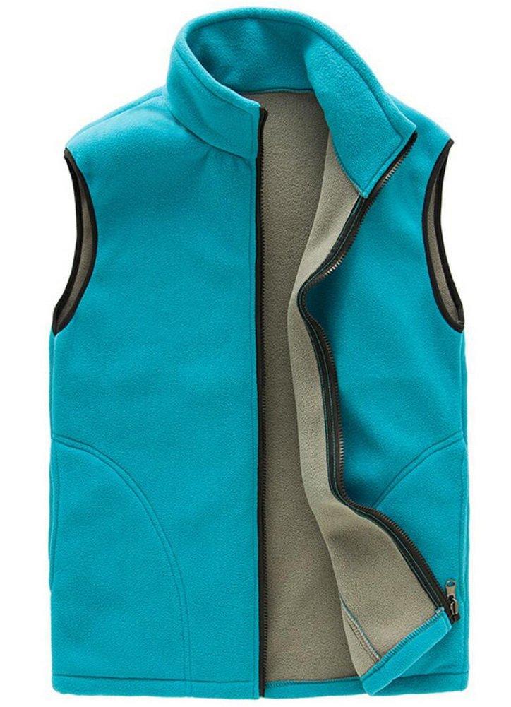 Vocni Women Mountain Fleece Vest Outwear Jacket Coat Acid Blue XX-Large