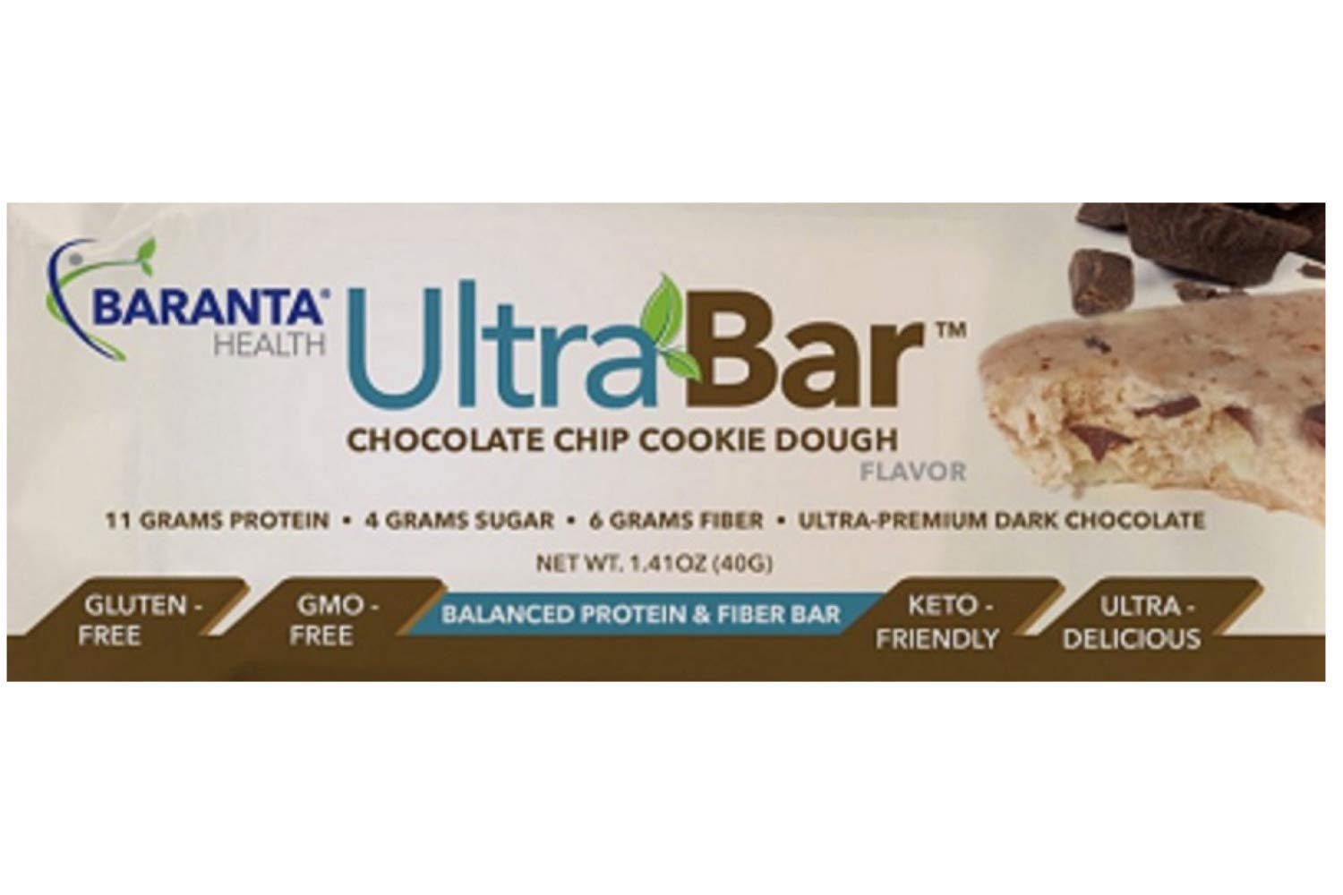 Keto Chocolate Chip Cookie Dough Bars Diet Snack (12 Count), Almond and Cacao Butter, 11g of Protein Low Carb Low Sugar, Gluten Free, Stevia, Coconut Oil | by Baranta Health by Baranta Health