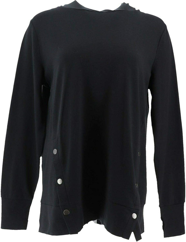 AnyBody Loungewear Women/'s Pullover French Terry Hoodie Black Medium Size