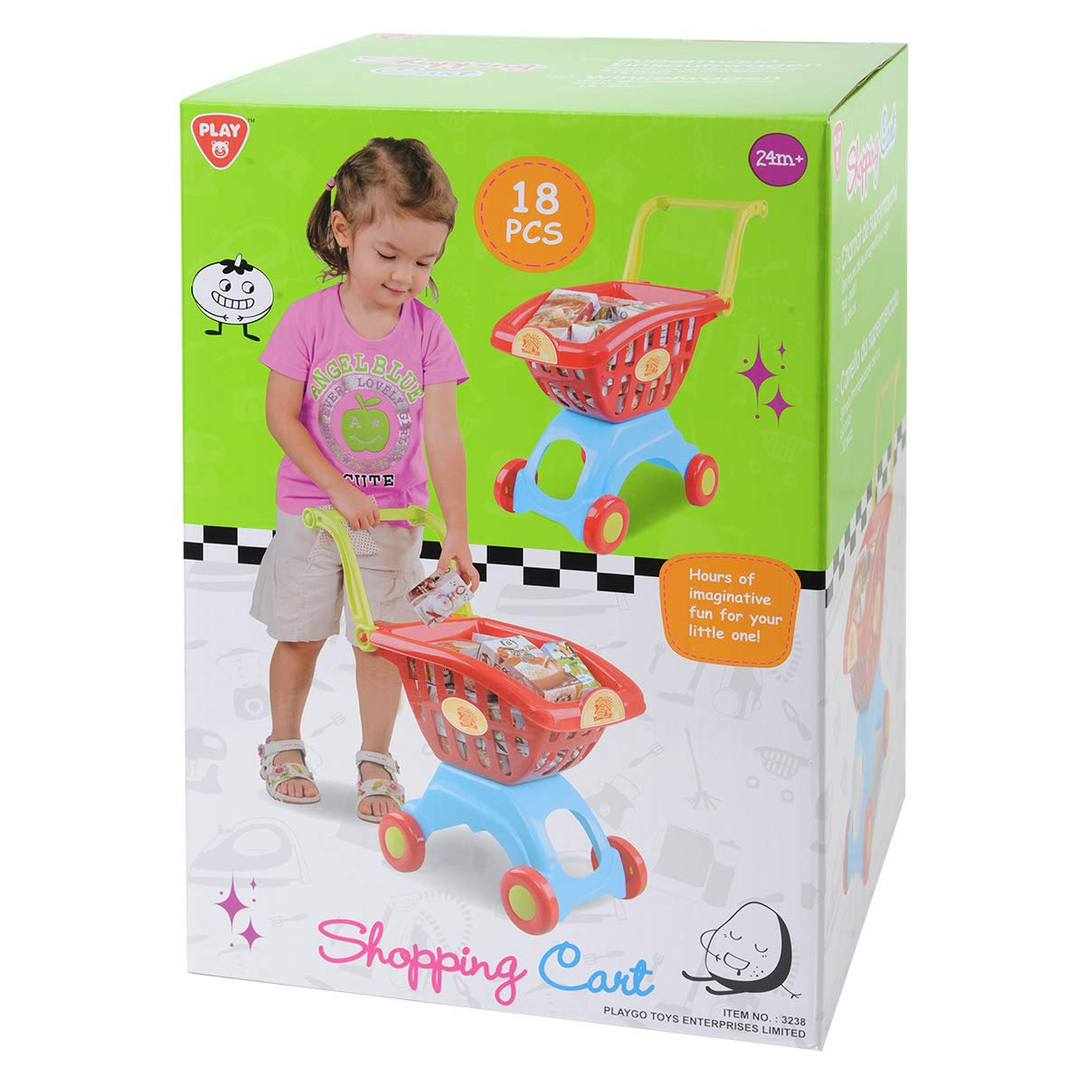 PlayGo Lightweight Shopping Cart Toy 18 Pc Set with Adjustable Handle Pretend Play for Toddler Kids Age 3 Years & Up by PlayGo (Image #4)