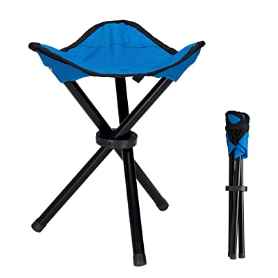 lychee Outdoor Three-Legged Foldable Folding Stool Camping Beach Fishing Chair Garden Seat Small Travelling Stool: Kitchen & Dining