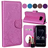 Samsung S6 Edge Case, Ailisi Luxury PU Leather Wallet Flip Case Butterfly Flower Design Magnetic Cover with Built-in Hidden Mirror, Stand Feature, Card Slots Holder for Samsung Galaxy S6 Edge-Pink