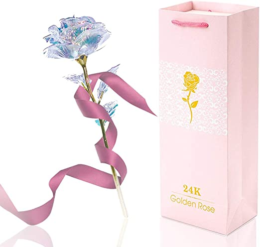 Galaxy 24K Gold Rose Valentine/'s Day Gift Romantic Crystal Flower With Gift Box