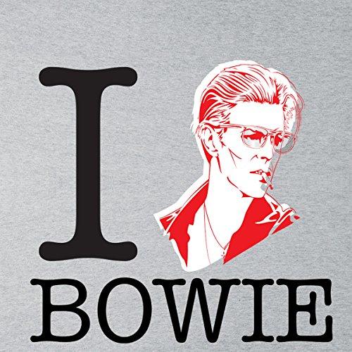 I Heart David Bowie Women's Hooded Sweatshirt Heather Grey