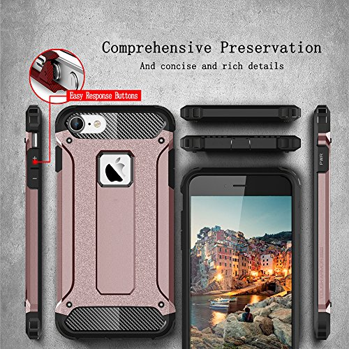Funda iphone 6 Plus, 5.5 pulgadas, Cáscara iphone 6 Plus, Alfort 2 en 1 Casco de Protección PC + TPU para el iphone 6 Plus Material de la PC + TPU de alta calidad diseño de moda + Toque Pluma Negro (  La Rosa de Oro