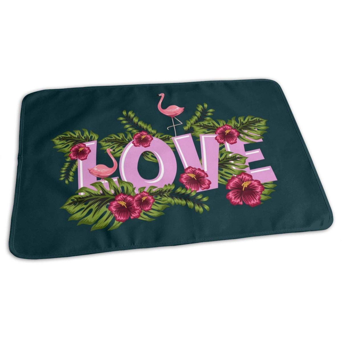 Osvbs Lovely Baby Reusable Waterproof Portable Greeting Card ''Love'' in Flower Characters Changing Pad Home Travel 27.5''x19.7'' by Osvbs