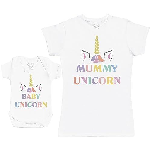Baby Unicorn & Unicorn - Baby Gift Set with Baby Bodysuit & Mother's T-Shirt
