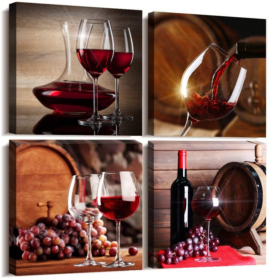Colorful Dining Room Canvas Picture Painting Kitchen Wall Art Wine And Barrel