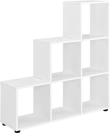 en.casa] Estantería en Forma de Escalera estilosa - Estantería de Almacenamiento con 6 compartimientos - Estantería de pie 104 x 107 x 29cm - Armario - Blanco: Amazon.es: Hogar
