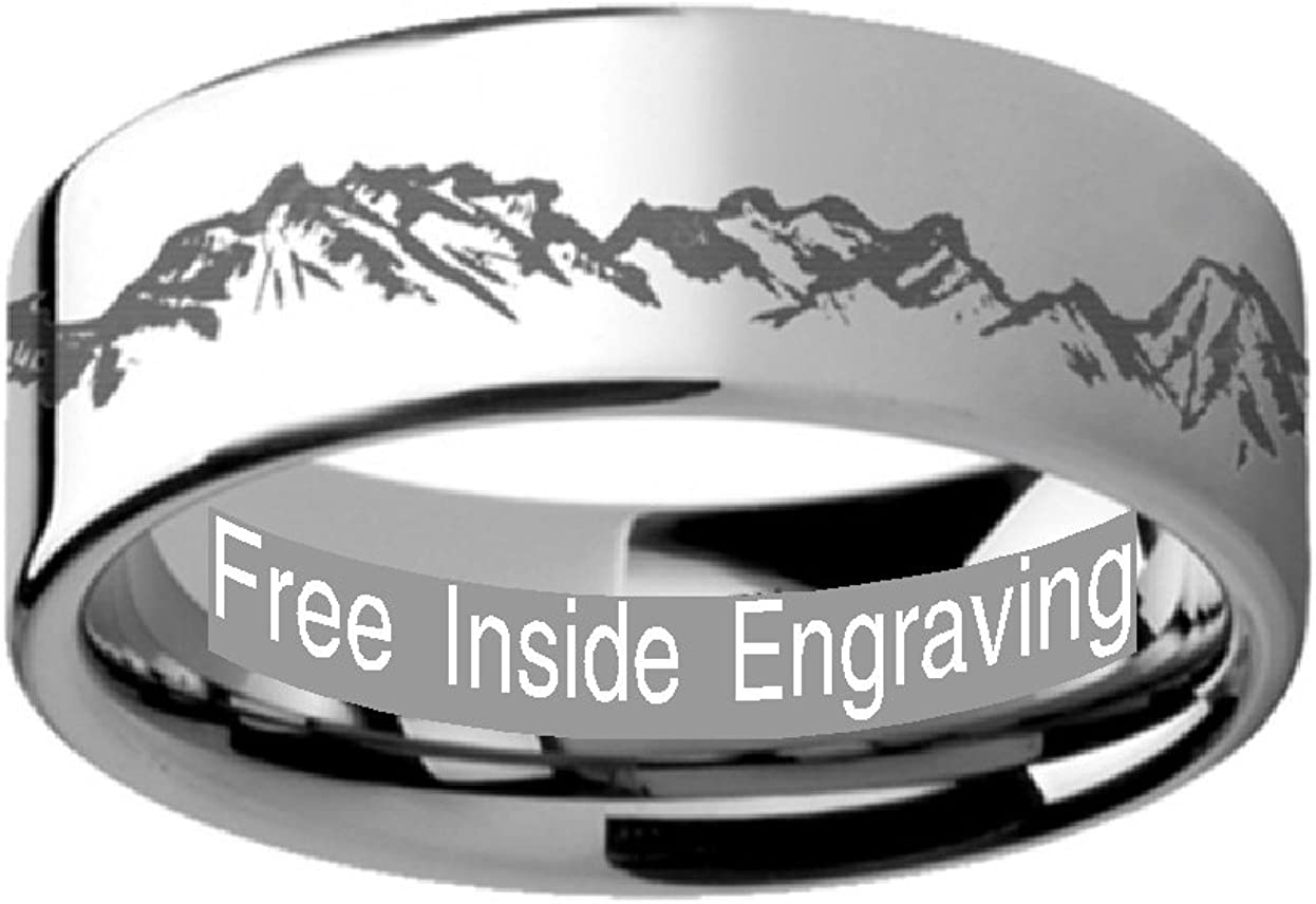 Thorsten Peaks Mountain Range Outdoors Landscape Ring Flat Black Tungsten Ring 6mm Wide Wedding Band from Roy Rose Jewelry
