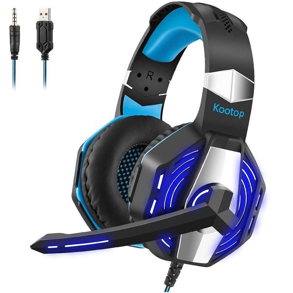 Kootop Stereo Gaming Headset for Xbox one,PS4 PC, Noise Cancelling Over Ear Headphones with Mic,Soft Earmuffs,Bass Surround,LED Light,for Laptop Tablet Phone(Black&Blue)