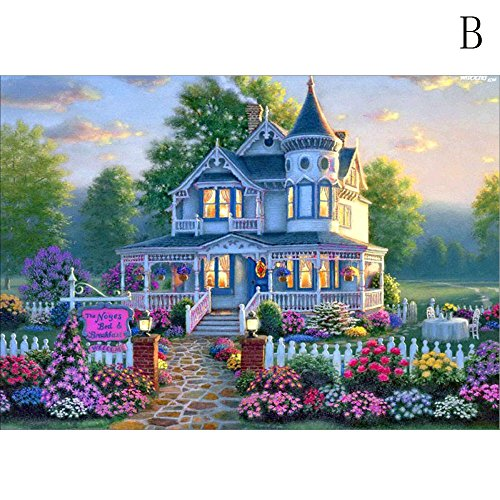 Chart Special Order Cross Stitch - Chenway 5D Diamond Painting Kit, Point Drill Embroidery Paint with Diamonds Wall Sticker for Linving Room Decor - (Garden House)