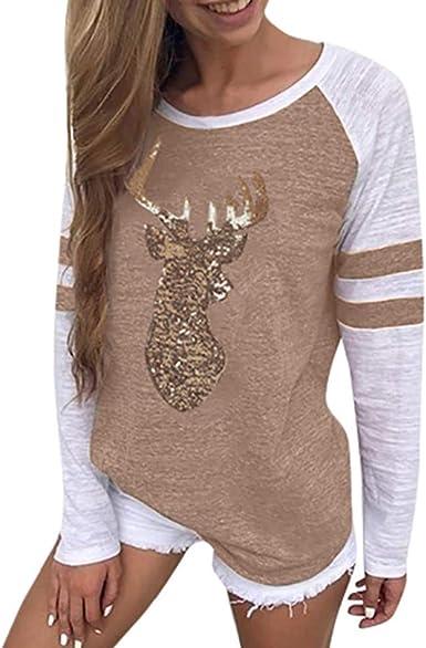 Auifor Camisa Festiva Señora de Navidad Ciervos del Reno de Lentejuelas Apliques de Cuello Redondo de la Camiseta de Manga Larga Superior de Navidad: Amazon.es: Ropa y accesorios