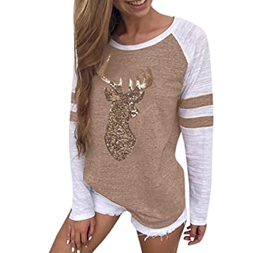 Youngh New Womens Christmas Blouses Plus Size Reindeer Appliques