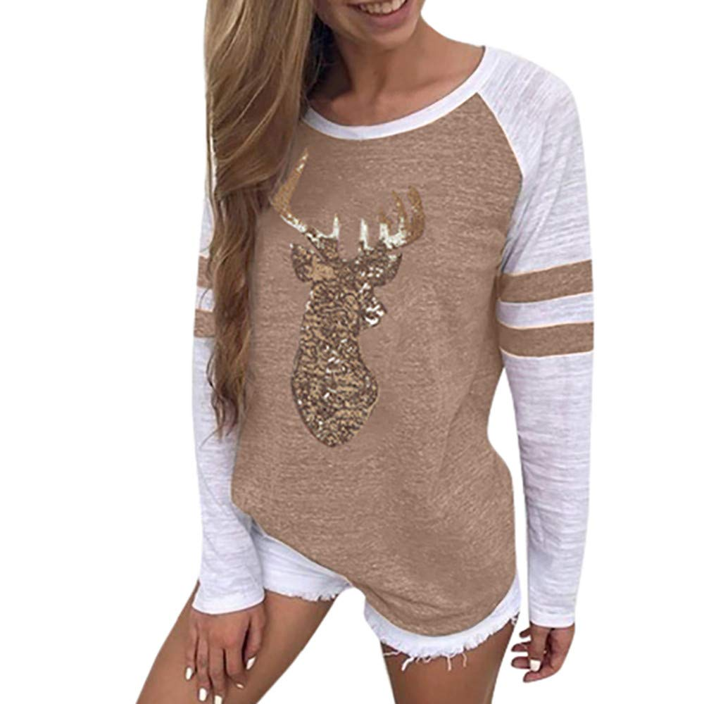 Womens Tops Clearance Liraly New Fashion Women Ladies Long Sleeve Splice Blouse Tops Clothes T Shirt(Khaki#,US-4 /CN-S)