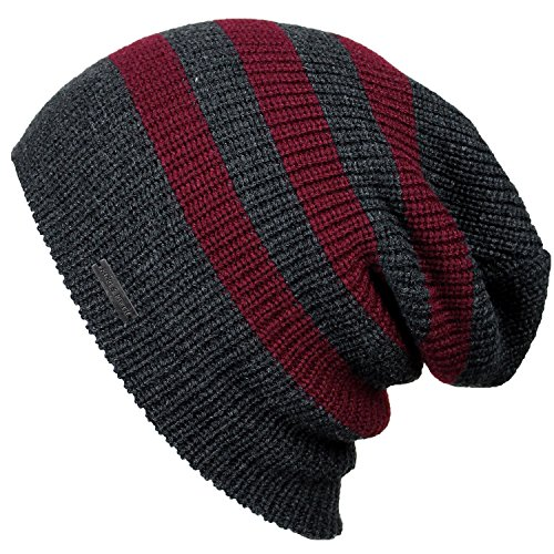 Slouchy Beanie by King & Fifth | Beanies For Men & Women + Premium Quality and Stylish + Winter Hats Charcoal Burgundy