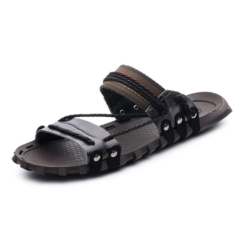 Zapatillas para Hombre Zapatillas de Playa de Cuero Genuino Sandalias Informales Zapatillas de cáñamo Antideslizantes de cáñamo 44 EU Negro