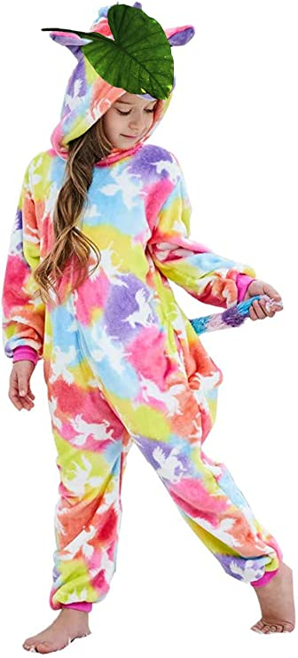 Kids Blue Pink Unicorn Pyjamas All In One Jumpsuit Fancy Dress Costumes Outfit
