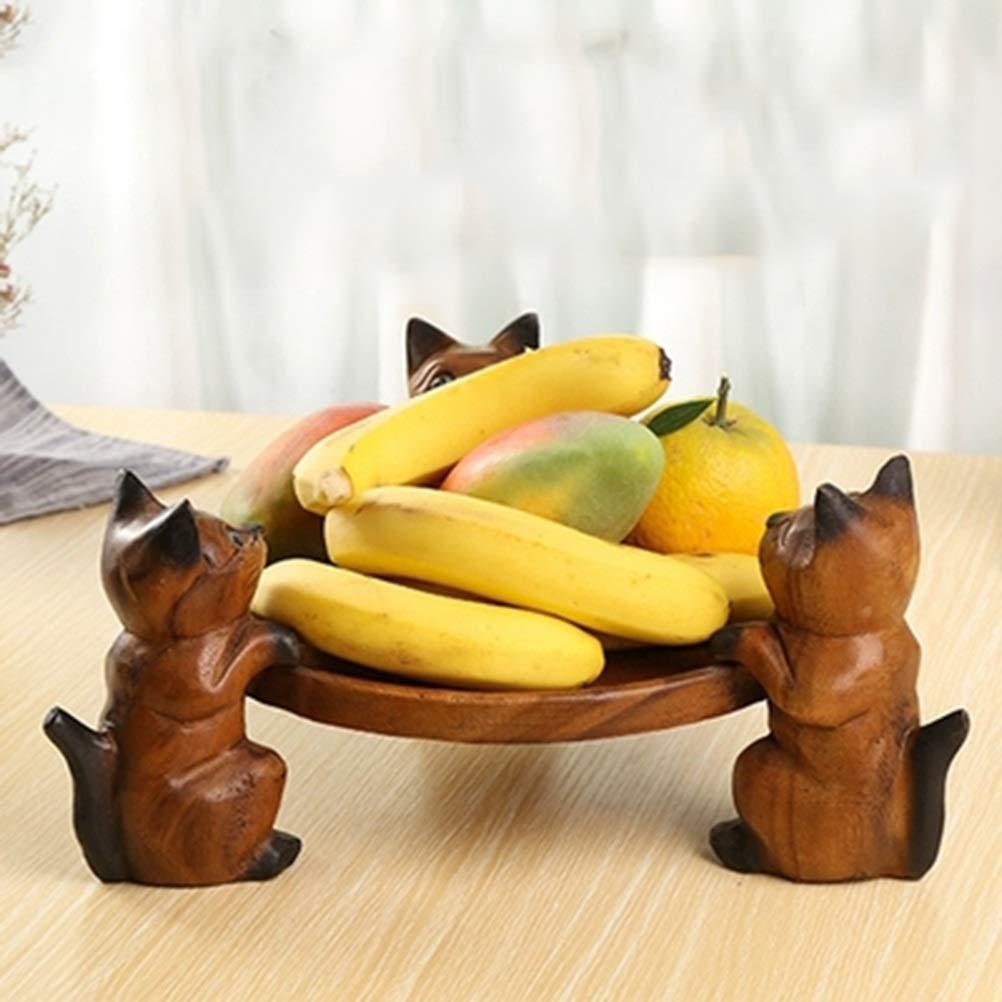 NKDK シンプルな家庭用木製フルーツプレート3匹の猫ラウンドフルーツプレートフルーツプレートドライフルーツプレート耐久性のあるフルーツプレートは繰り返し使用することができますフルーツバスケット -4715 フルーツバスケット   B07QLKXSRT