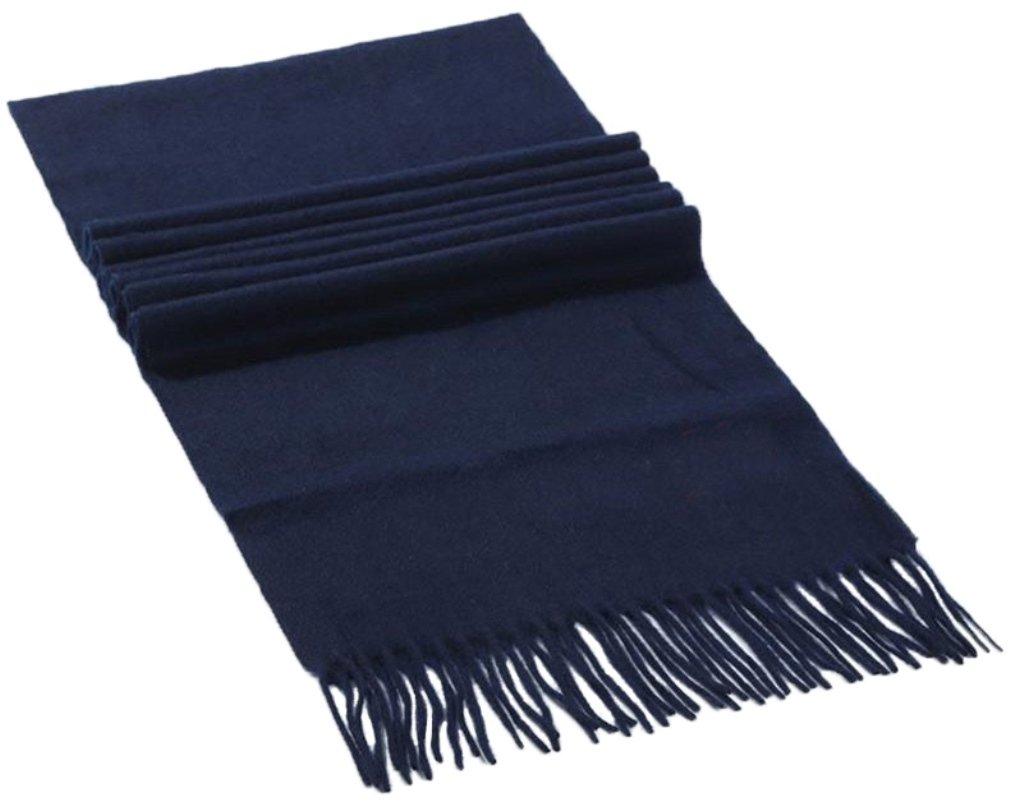高級ウールマフラー スカーフ 100%ウール 180x30cm セレクト品質 カラー全8色 B076YKHT9W ネイビー ネイビー