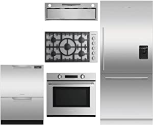 "Fisher Paykel 5 Piece Kitchen Appliance Package with 36"" Bottom Freezer Refrigerator, Door Panel, 30"" Single Wall Oven, 36"" Gas Cooktop, 36"" Hood and 24"" Full Console Dishwasher in Stainless Steel"