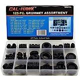 Cal-Hawk AZGA125 Rubber Grommet Assortment Set Electrical Gasket, 125 Piece