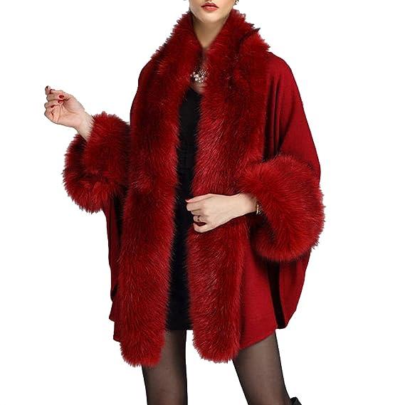KAXIDY Lujoso Piel de imitación Mantón Capa Poncho Capes Abrigo para Mujeres (Vino rojo)