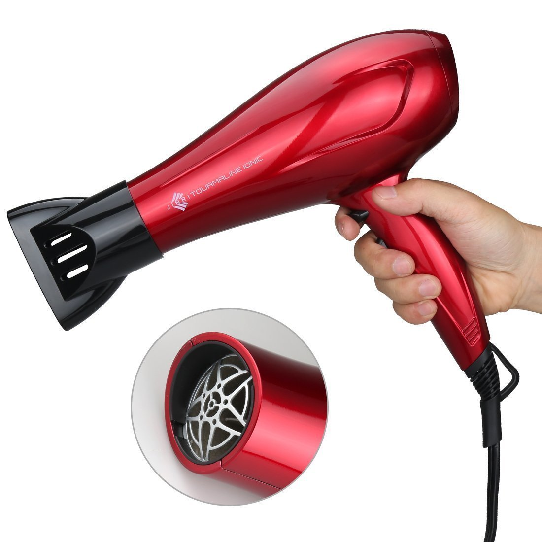 Jinri Beautiful Hair Dryer Powerful Air Tourmaline Strong Air Negative Ionic 1875W DC Motor Blow Dryer Healthy Hair Tool with Nozzle, Fashion Red
