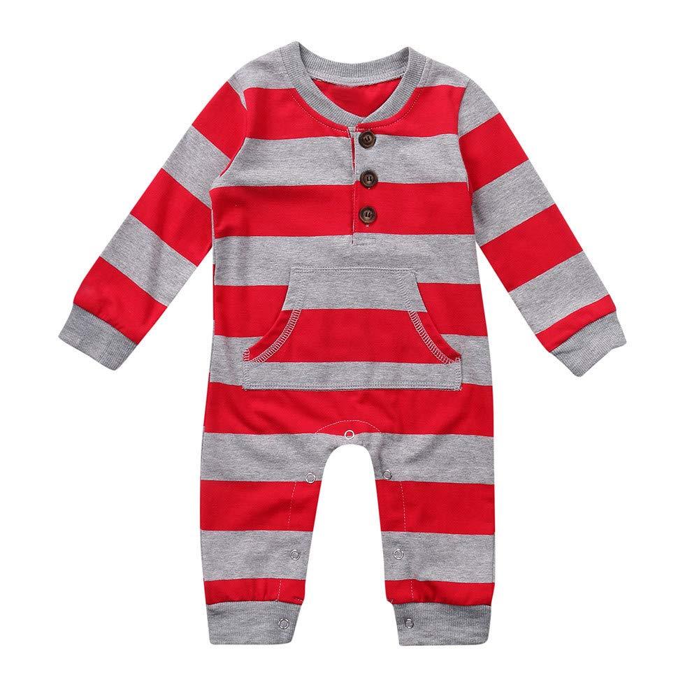 Iuhan  Baby Girls Boys Christmas Pajamas Long Sleeves Stipe Romper Kids Clothing Shirt