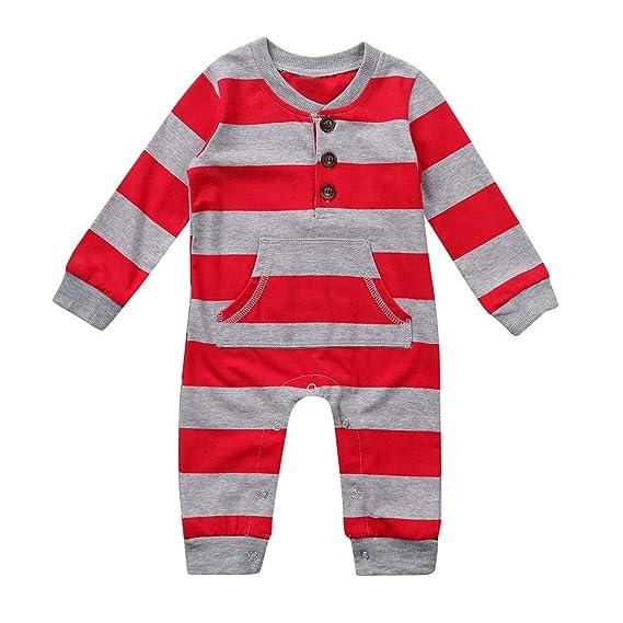 Gusspower Mono Bebé, Bebé niño niña de Manga Larga Mameluco de Rayas navideñas Mono Pijamas