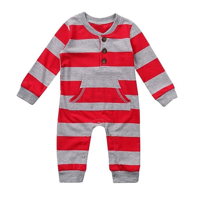 beautyjourney Bebé Niña niños Mameluco a Rayas de Manga Larga Mono Bodysuit Saco de Dormir recién Nacido para niños Ropa de Navidad: Amazon.es: Ropa y ...
