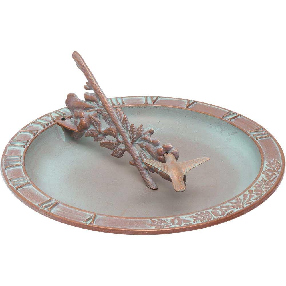 Whitehall Products Hummingbird Sundial Birdbath, French Bronze