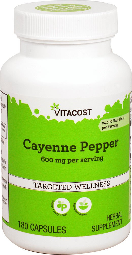 Vitacost Cayenne Pepper -- 600 mg per serving - 180 Capsules