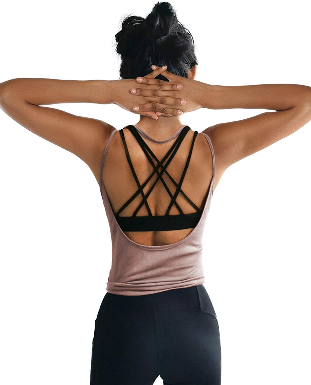 OYANUS Womens Summer Workout Tops Sexy Backless Yoga Shirts Open Back Activewear Running Sports Gym Quick Dry Tank Tops: Clothing