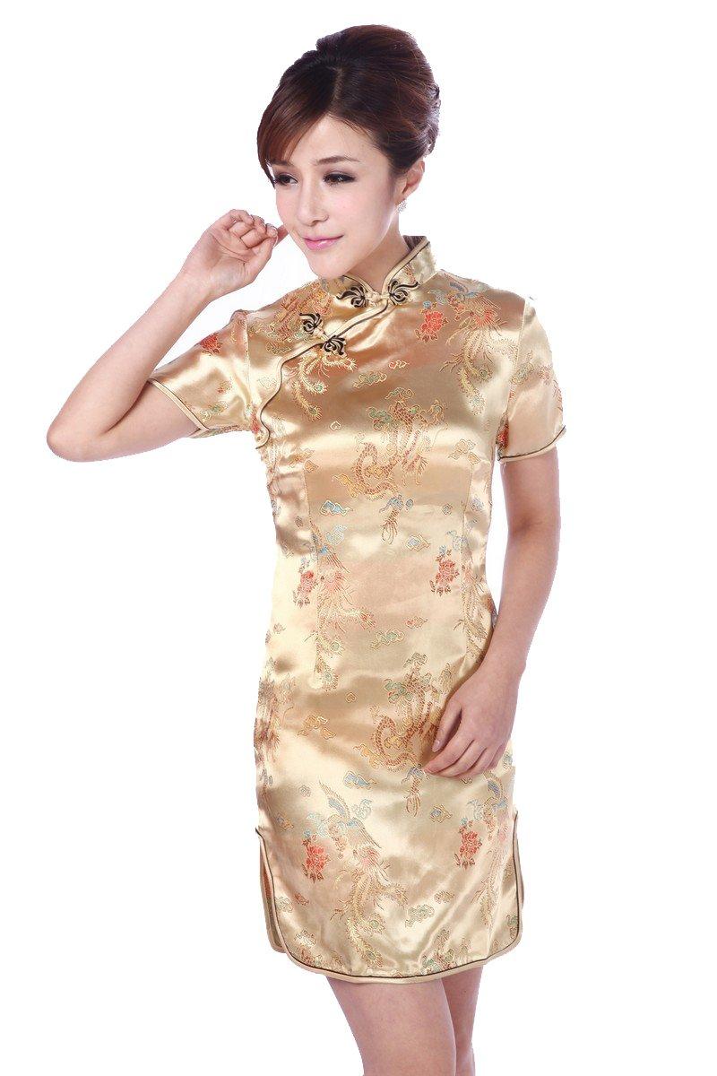 JTC Women's Yellow Short Cheongsam Dress 1pc (Small)