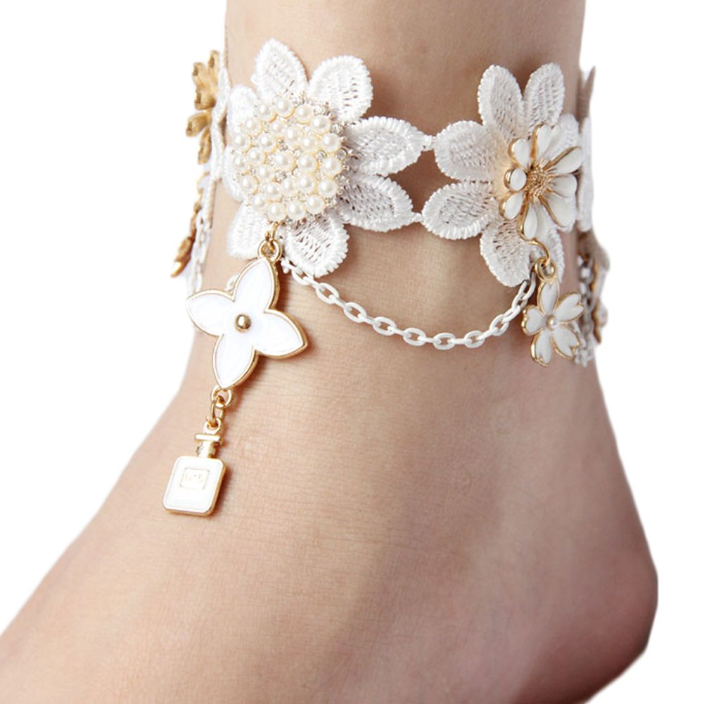 Sunzeus Vintage White Bridal Anklets Lace Flowers Pearls Bohemian Girls Anklet Wedding Accessories-Design A