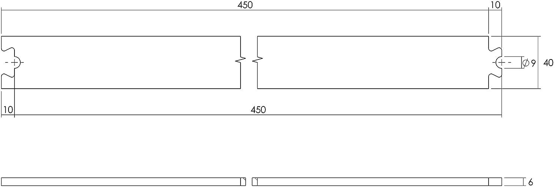 INTERSTEEL Verl/ängerung f/ür Schiebet/üren Innent/üren und Wandschr/änke- 45 cm Zwischenschiene Edelstahl geb/ürstet