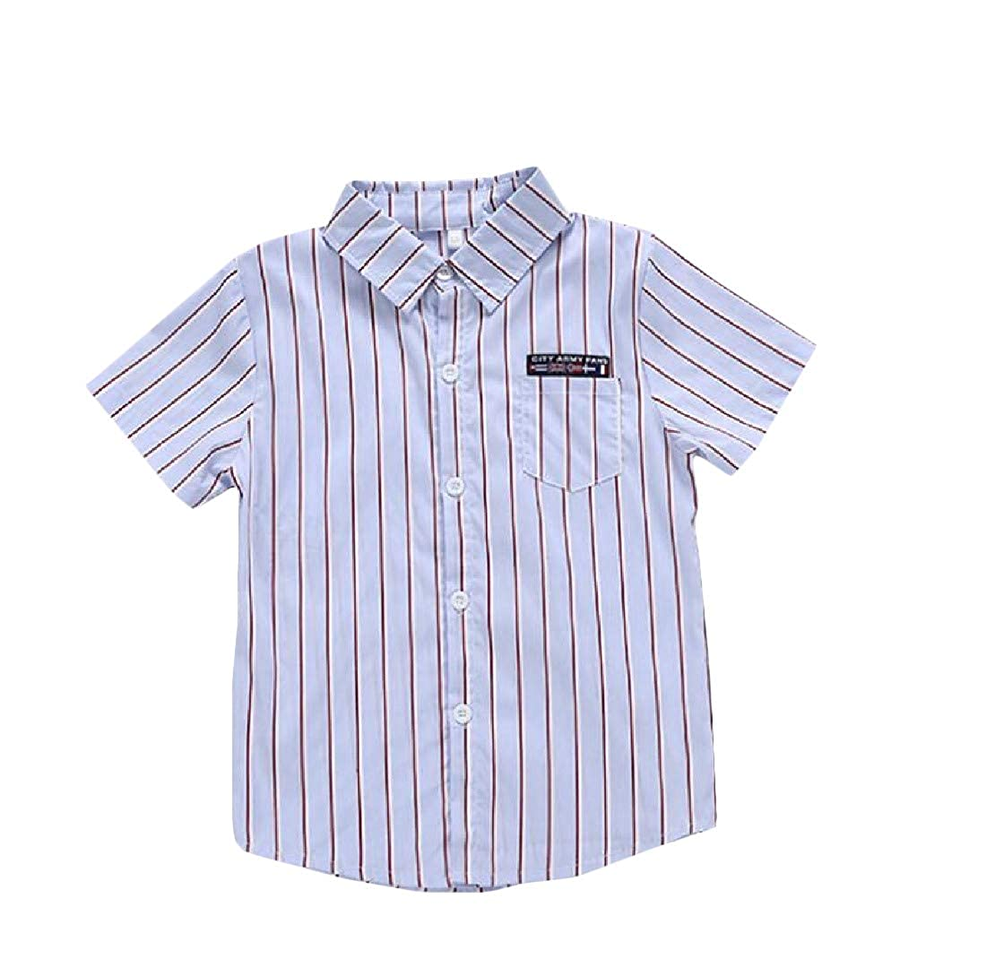 Lutratocro Boys Striped Short Sleeve Printed Cartoon Top Shirts