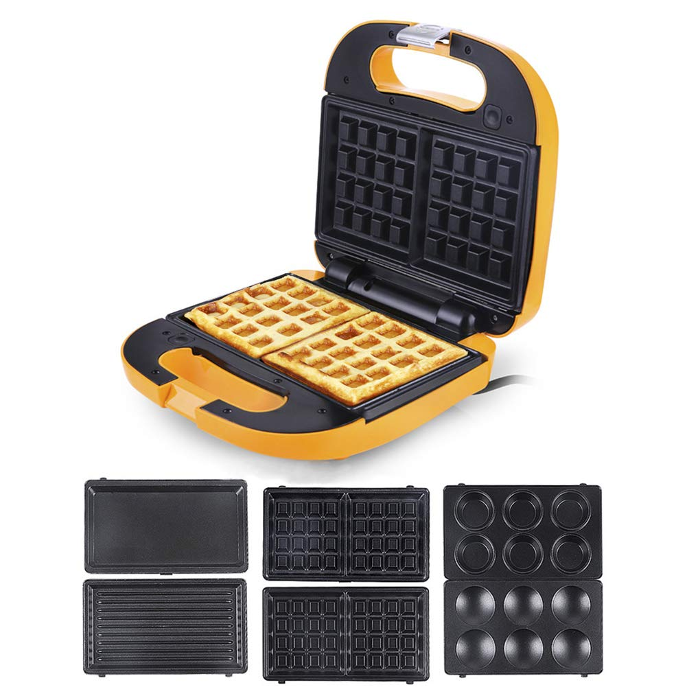 Waffle maker, Waffle irons Cupcake makers Crepe machine 3 in 1 Automatic Non-stick Detachable Washable-yellow 22x22x9cm(9x9x4inch)