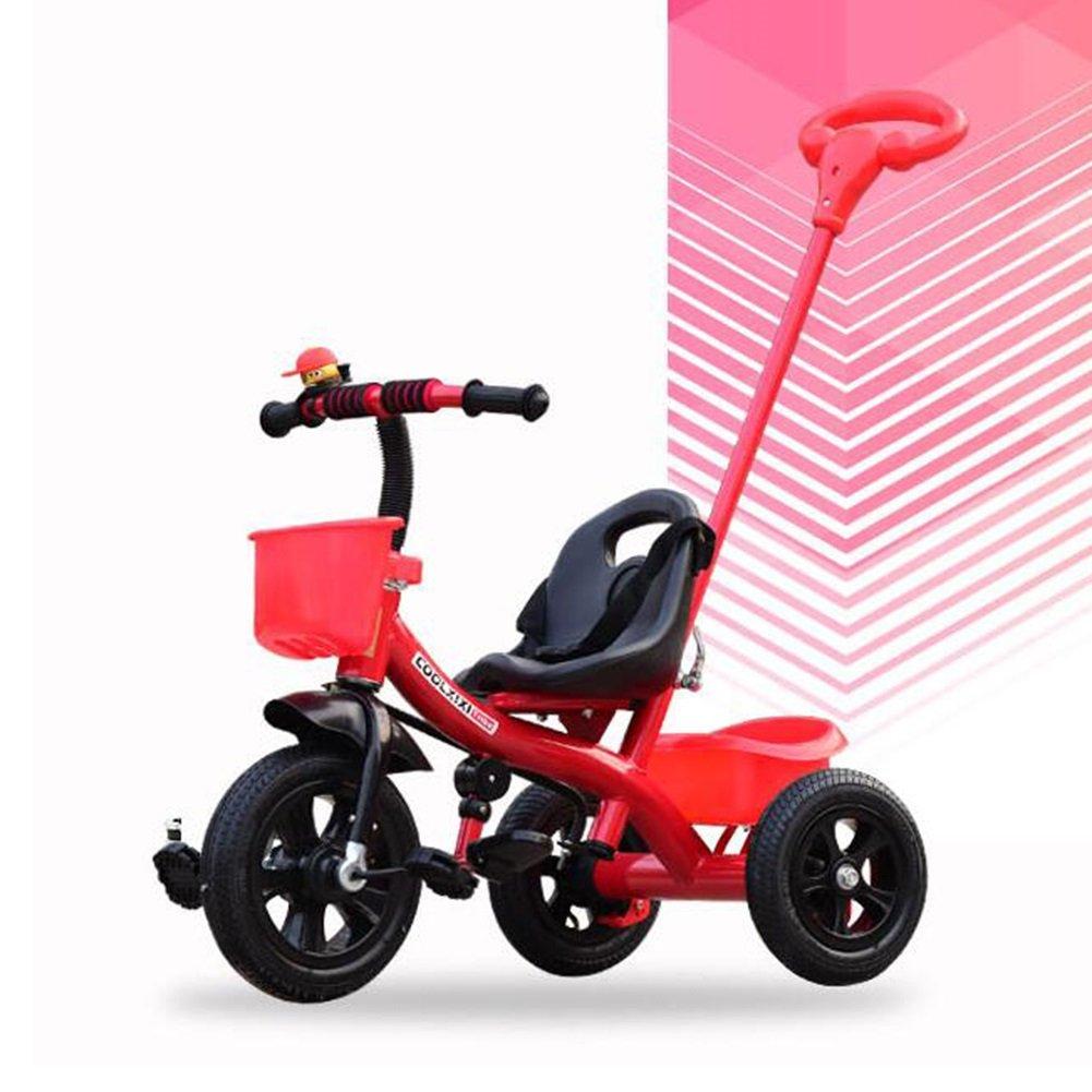 XQ 子供 高弾性 耐震性 空気圧ホイール 三輪車 1-3-5歳 赤ちゃん トロリー 子ども用自転車 ( 色 : 赤 ) B07CG5MFBM赤