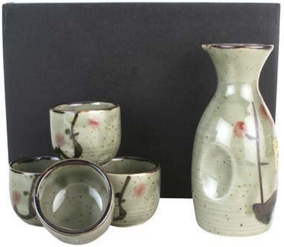 JapanBargain, Japanese Porcelain Sake Set Sake Carafe Bottle Sake Cups for Hot Sake and Cold Sake Made in Japan (Green)