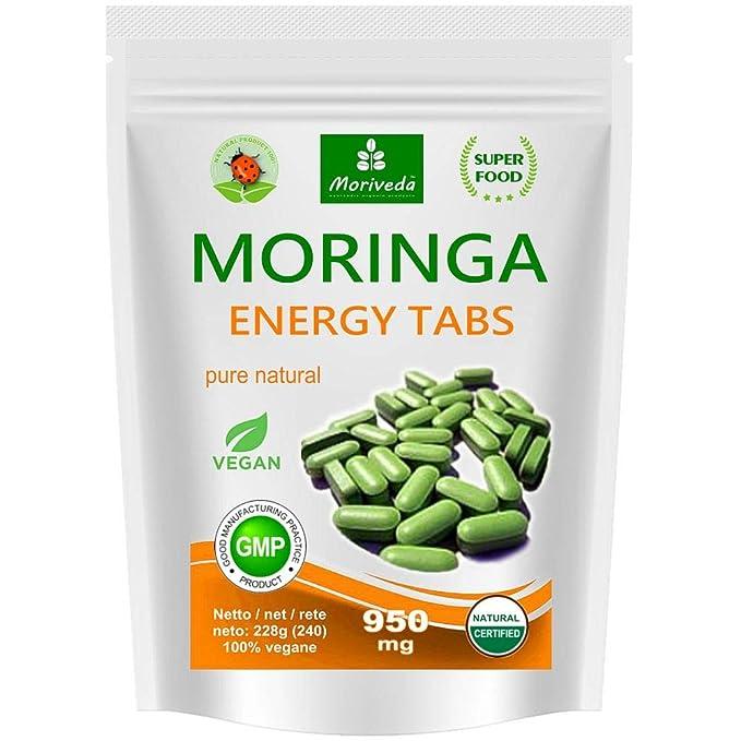 Moringa 240 Energía Tabs 950mg, 100% naturales, non cápsulas (1x240 tabletas)