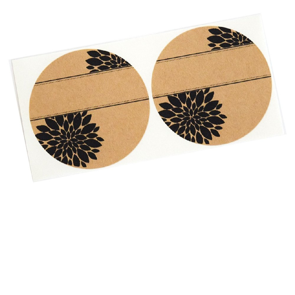 Pretty Mum Flowers Multi-Purpose Labels Stickers by Once Upon Supplies, Round Seals, 2.5'' Size for Wide Mouth Mason Jars, 36 Pcs