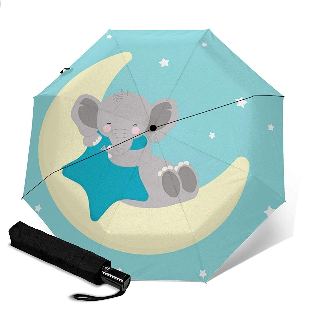 Cute Elephant Baby Sleeping On The Moon Compact Travel Umbrella Windproof Reinforced Canopy 8 Ribs Umbrella Auto Open And Close Button Personalized