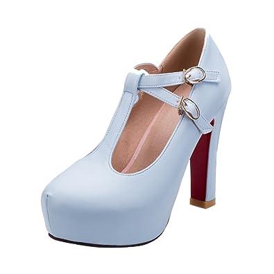 YE Damen T Steg Pumps Blockabsatz Plateau High Heels Geschlossen mit  Riemchen Elegant Schuhe - associate-degree.de 24ec42179d