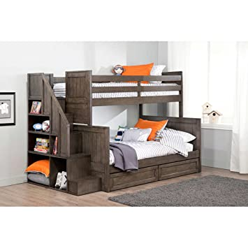 Ryan Twin Over Double Bunk Bed With Universal Staircase Amazon Ca