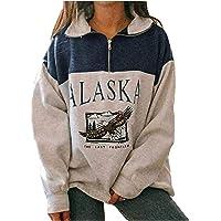Sudadera para Mujer Alaska Letra Impresión Suelta Casual Manga Larga Hip Hop Alto Cuello Redondo Cremallera Águila…
